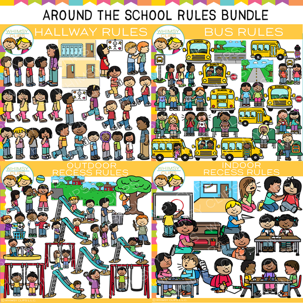 Around School Rules Clip Art Bundle