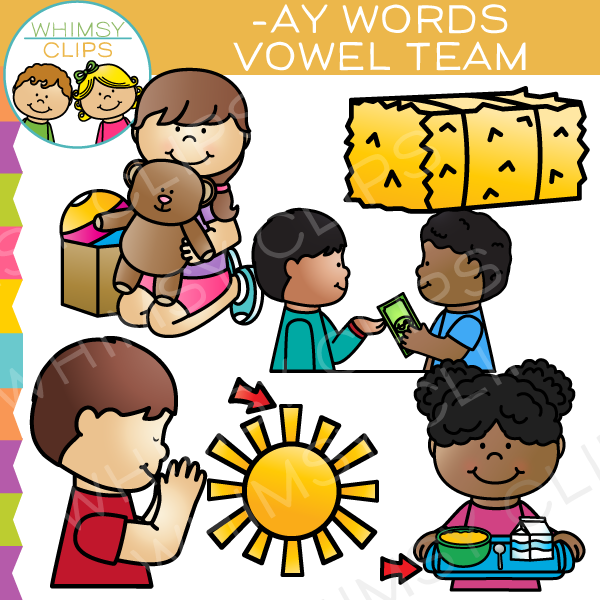 Vowel Teams Clip Art - AY Words