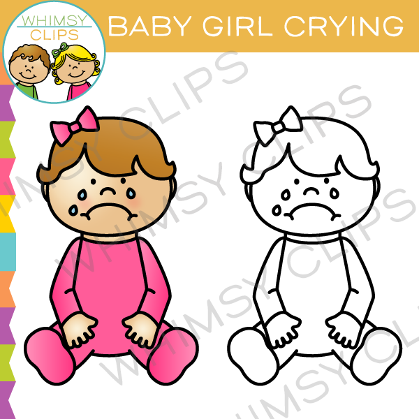 Baby Girl Crying Clip Art
