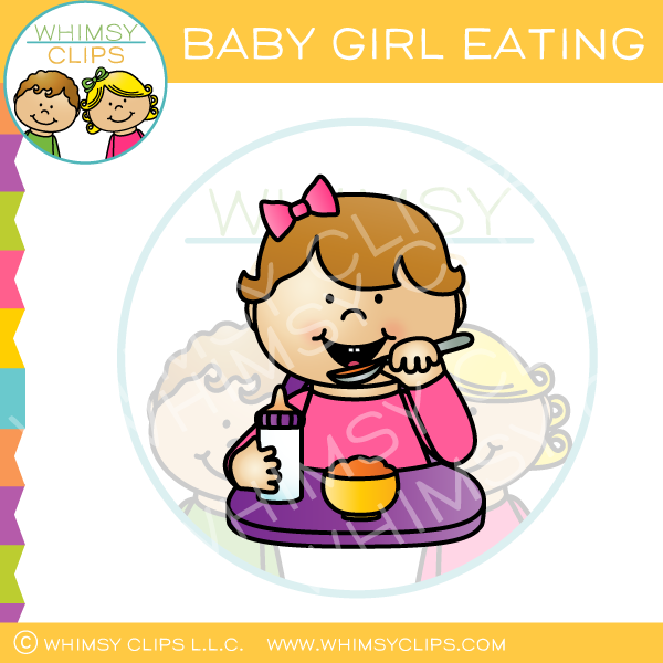 Baby Girl Eating Clip Art