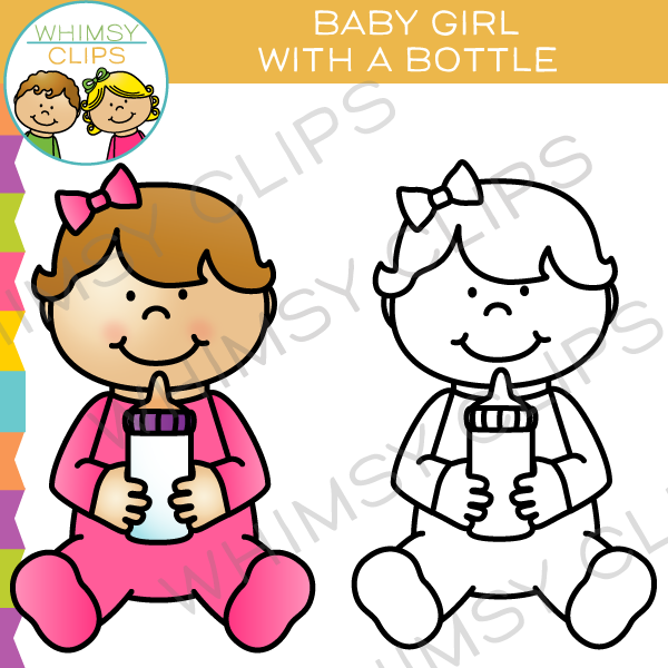 Baby Girl with a Bottle Clip Art