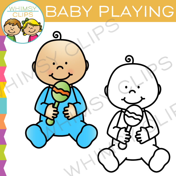 Baby With Rattle Clip Art
