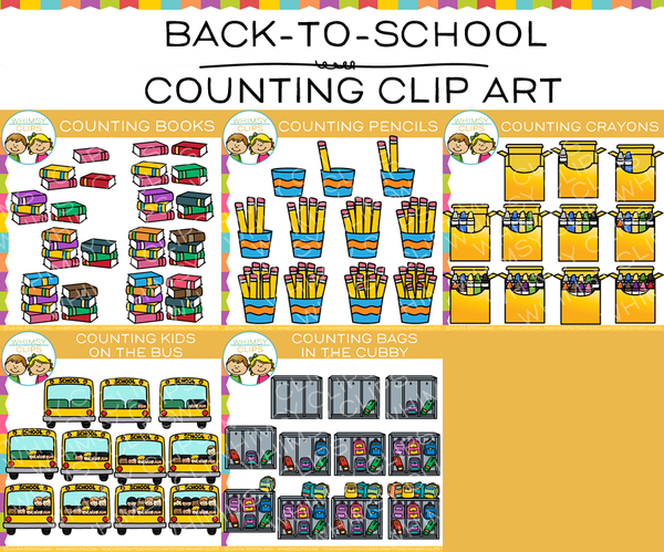 Back-to-School Counting Clip Art Bundle