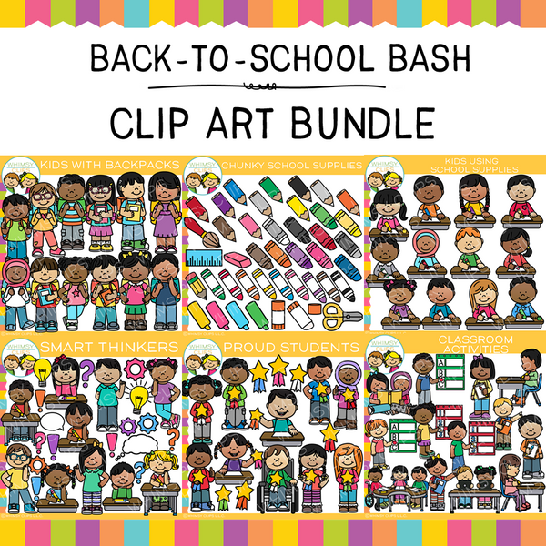 Back-To-School Bash Clip Art GROWING Bundle