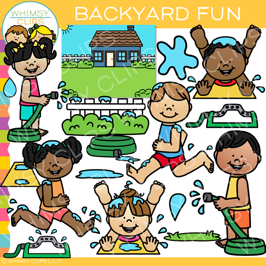 Summer Kids Having Fun in the Backyard Clip Art