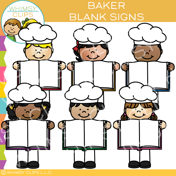 Bakers with Blank Signs Clip Art