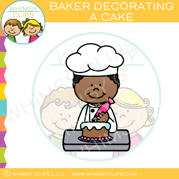 Baker Decorating a Cake Clip Art