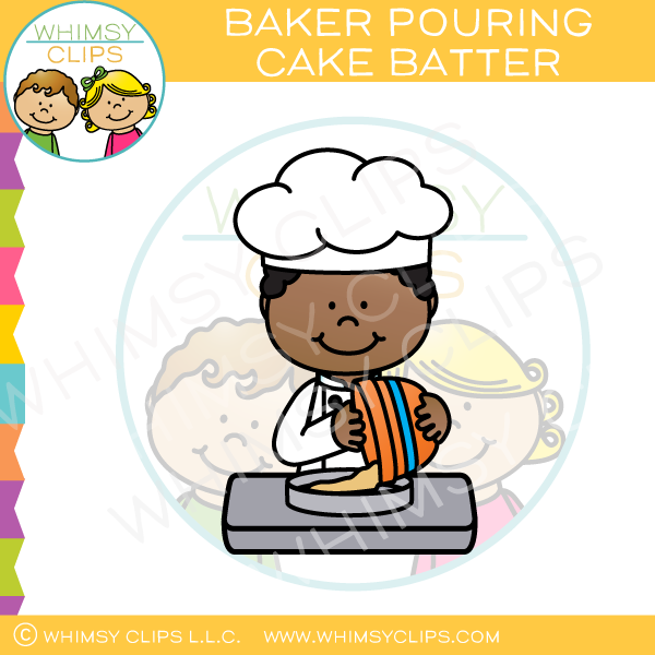 Baker Pouring Cake Batter Into a Pan Clip Art