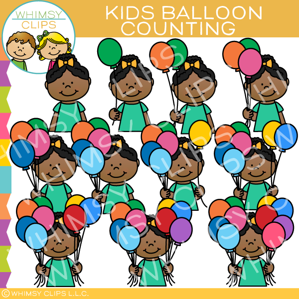 Kids Counting Balloon Clip Art