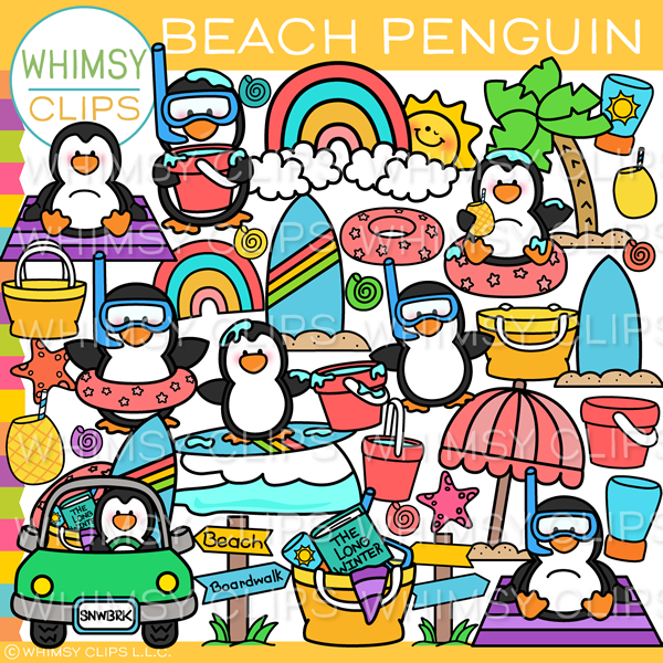 Penguin Beach Day Clip Art