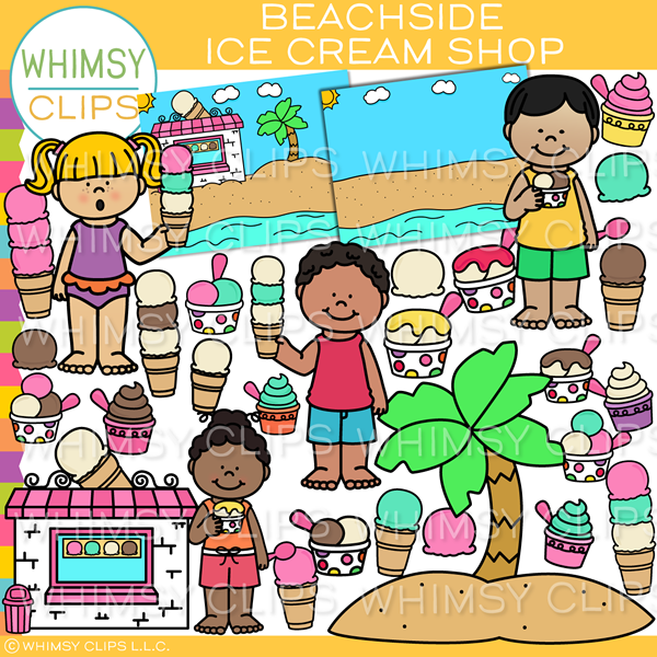 Beachside Ice Cream Clip Art