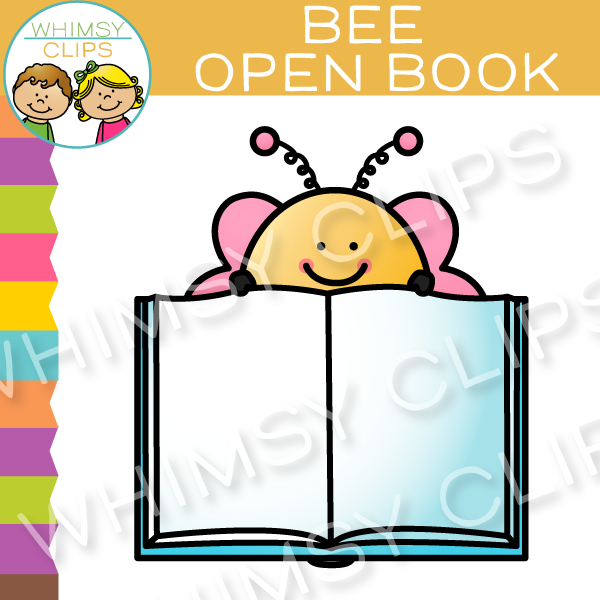Free Bee with an Open Book Clip Art
