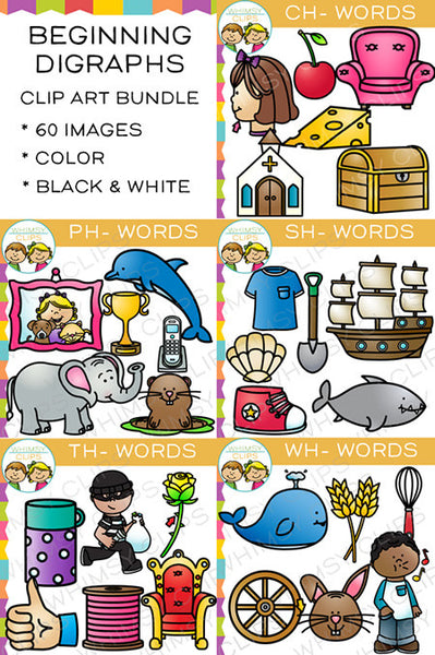 Beginning Digraphs Clip Art Bundle - Volume One