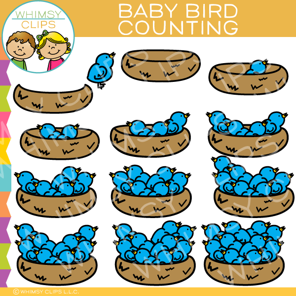 Blue Bird Counting Clip Art