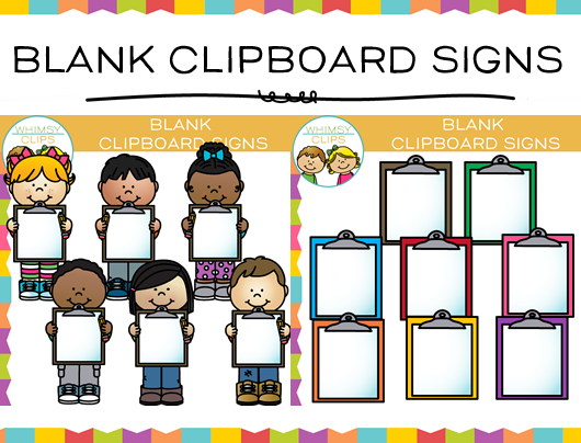 Kids with Blank Clipboard Signs Clip Art