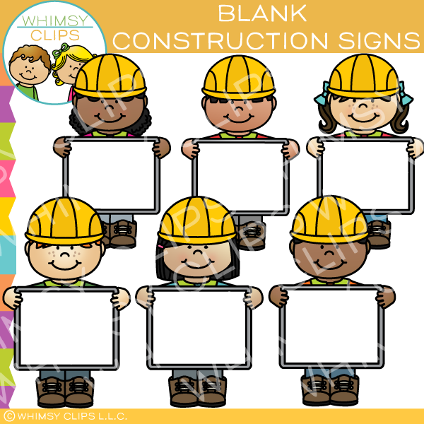 Builders with Blank Signs Clip Art