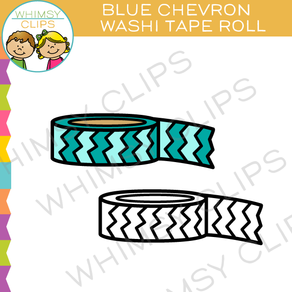 Blue Chevron Washi Tape Roll Clip Art