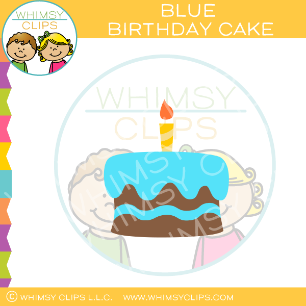 Blue Chocolate Boy Birthday Cake Clip Art