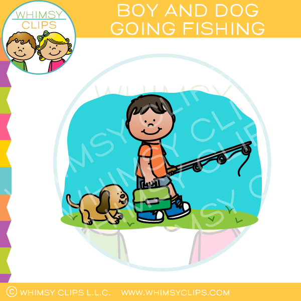 Boy and Dog Going Fishing Clip Art