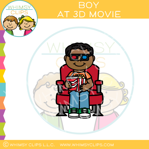 Boy At 3D Movie Clip Art