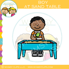 Boy At Sand Table Clip Art