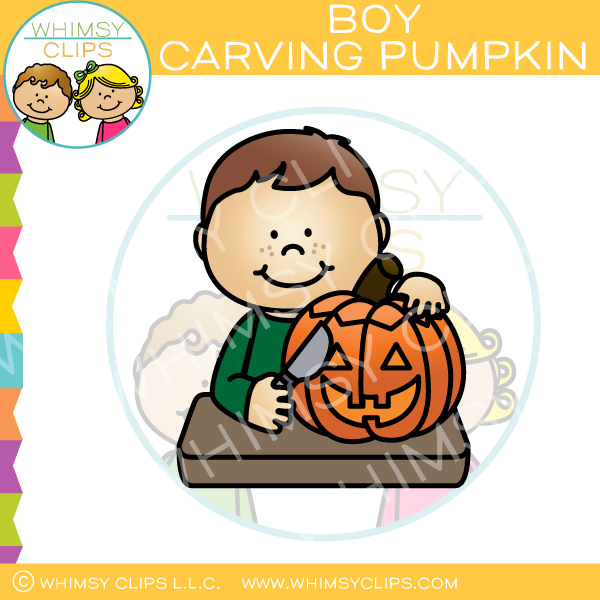 Boy Carving a Pumpkin Clip Art
