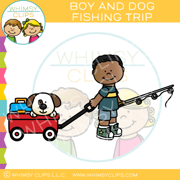 Boy and Dog Fishing Trip Clip Art