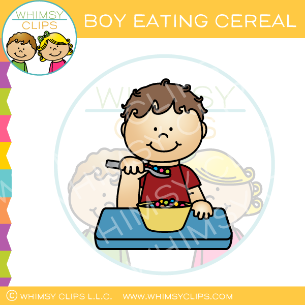 Boy Eating Cereal Clip Art