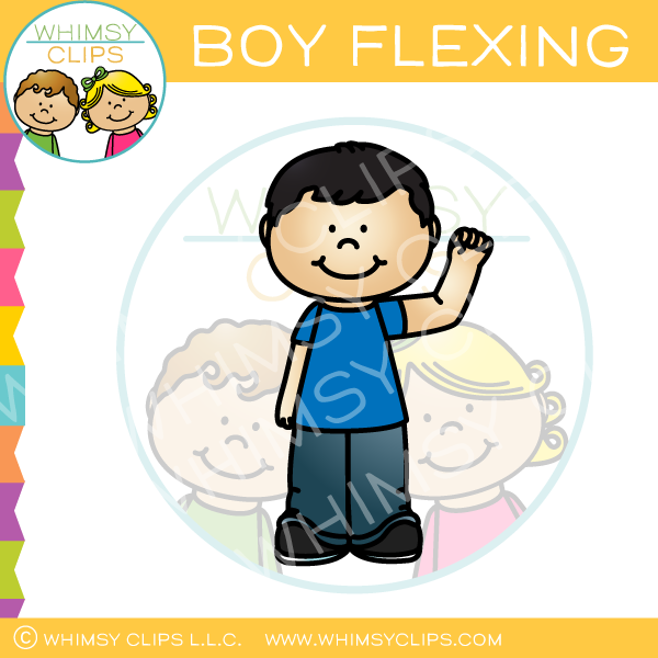 Boy Flexing Clip Art