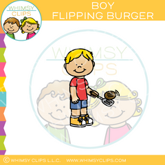 Boy Flipping Burger Clip Art
