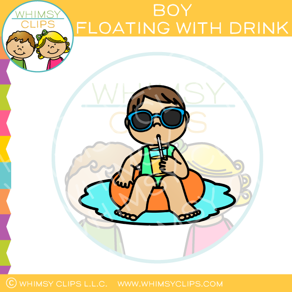 Boy Floating With Drink Clip Art