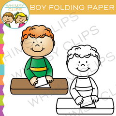 Boy Folding Paper Clip Art