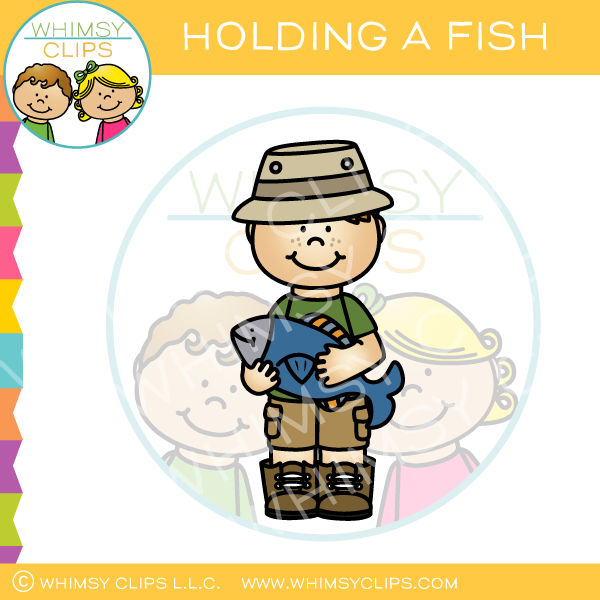 Boy Holding a Fish Clip Art
