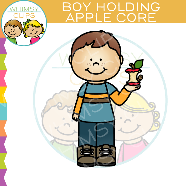 Boy Holding Apple Core Clip Art