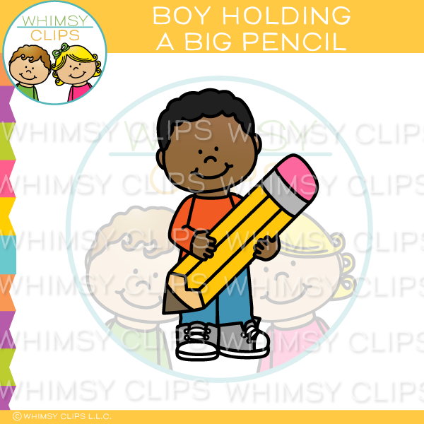 Boy Holding A Big Pencil Clip Art