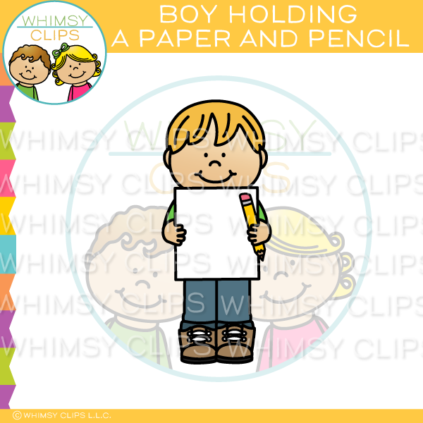 Boy Holding Paper And Pencil Clip Art