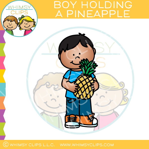 Boy Holding a Pineapple Clip Art