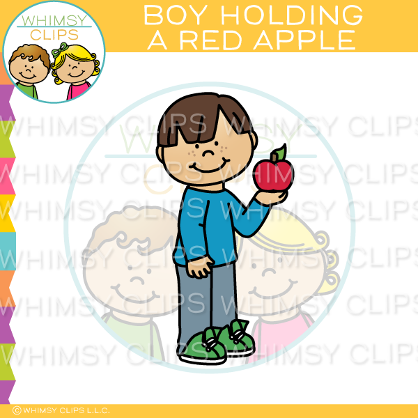 Boy Holding A Red Apple Clip Art