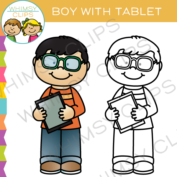 Boy with a Tablet Clip Art
