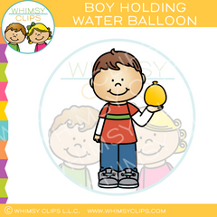 Boy Holding a Water Balloon Clip Art