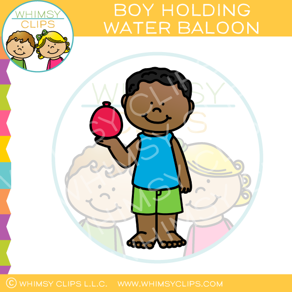 Summer Boy Holding a Red Water Balloon Clip Art