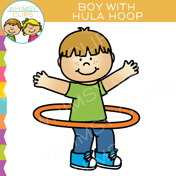 Boy with a Hula Hoop Clip Art