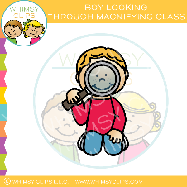 Boy Looking Through Magnifying Glass Clip Art