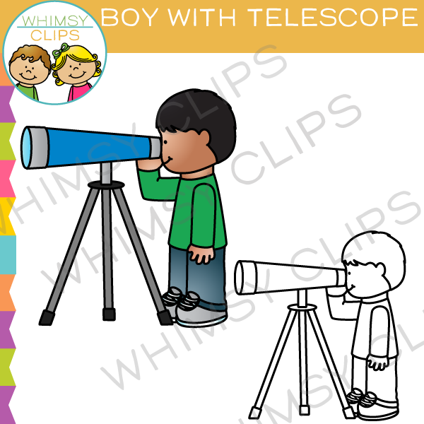 Boy Looking Through a Telescope Clip Art