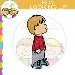 Boy Looking Up Clip Art