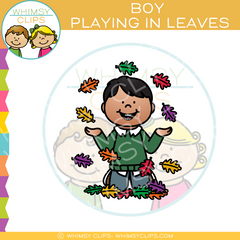 Boy Playing in Fall Leaves Clip Art