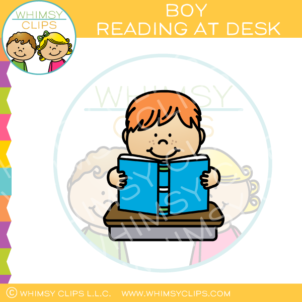 Boy Reading At Desk Clip Art