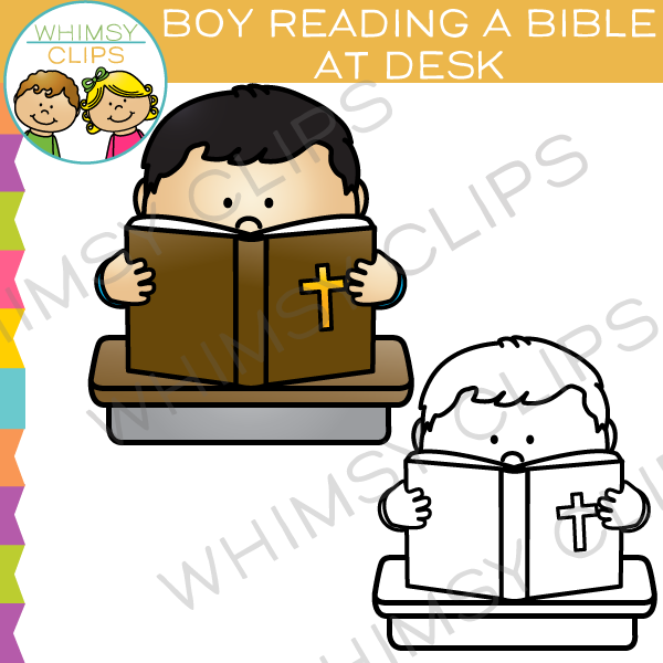 Boy Reading Bible Clip Art