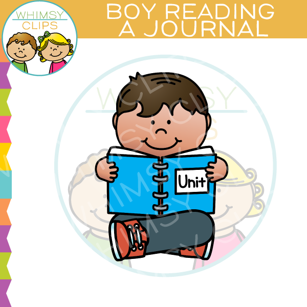 Boy Reading Journal Clip Art