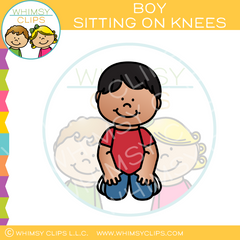 Boy Sitting On Knees Clip Art